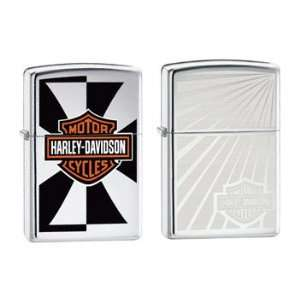 Zippo Lighter Set   Harley Davidson Reflection and Engraved Burst Logo