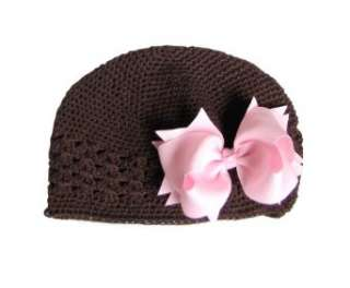 Brown Crochet Beanie Hat/Pink Hair Bow for Baby and Girl Clothing