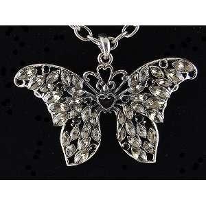 Heart Shape Center Dark Tone Wing Butterfly Crystal Rhinestone Pendant