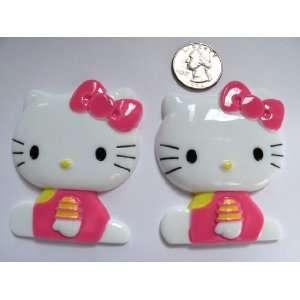 2 Jumbo Kawaii Resin Cabochon Flat Back Hello Kitty for