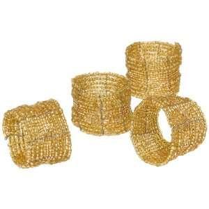 DII Gold Beaded Napkin Ring, Set of 4