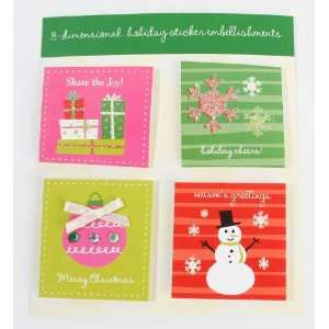 Dimensional Christmas Themed Embellishing Stickers for Cards