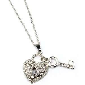 CHARM NECKLACE   Key & Heart Lock Crystal Necklace Jewelry