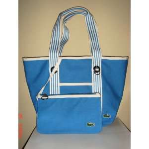 BNWT AUTHENTIC LACOSTE CANVAS WHITE/BLUE HANDLE OPEN TOTE