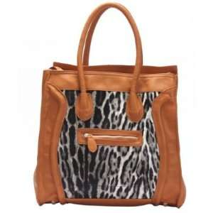 Designer Leopard Animal Print Womens Satchel Hand Bag Tote Purse Hobo