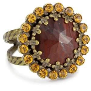 Sorrelli Maple Syrup Opaque Multi Colored Crystal Adjustable Ring