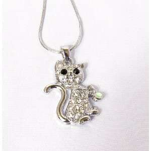 Crystal Kitty Cat Pendant Necklace