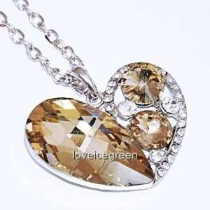 Crystal Glass Brown Heart Pendant Necklace 18k Gp (Cn9