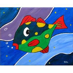 Original Fish Painting Nursery Decor Kids Room Wall Art Hand Painted