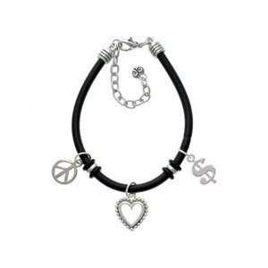 Silver Rounded Dollar Sign   Black Peace Love Charm Bracelet [Jewelry]