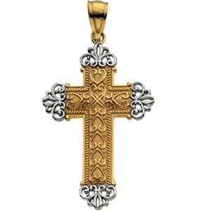 14K Yellow/White Gold 32.5X20.5 Two Tone Cross Pendant Jewelry