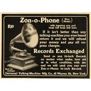 1904 Vintage Ad Zon O Phone Antique Phonograph Record