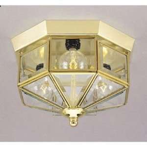 3 Light Flush Mount Ceiling Fixture Polished Brass Finish