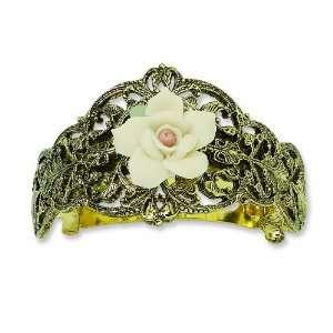 Brass Tone Ivory Rose Ponytail Holder Jewelry