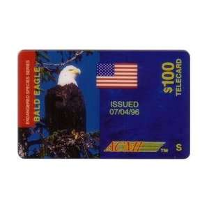100. American Bald Eagle Endangered Species S & USA Flag PROOF