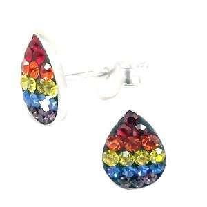 Stud Rainbow Teardrop Sterling Silver Enamel 925 Post/stud Earrings