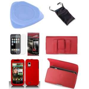 in 1 Combo Red Rubberized Snap on Hard Skin Cover Case + Premium Red