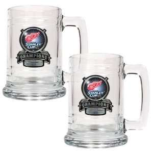 Detroit Red Wings NHL 2008 Stanley Cup Champs 2pc 15oz Glass