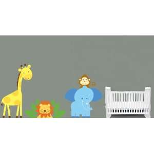 Childrens Removable Vinyl Wall Decal Elephant Giraffe Monkey Lion