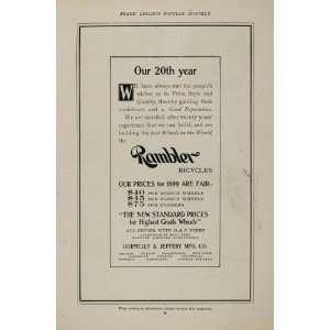 1898 Vintage Ad Rambler Bicycle Bike Gormully & Jeffery