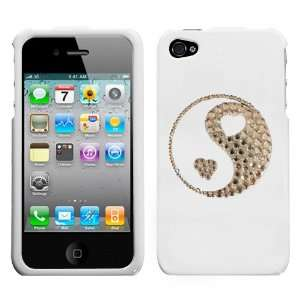 White on White Crystal Rhinestone Bling Bling Ying Yang Hearts for At