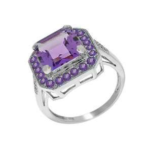 9ct White Gold Amethyst & Diamond Cocktail Ring Size 5.5 Jewelry