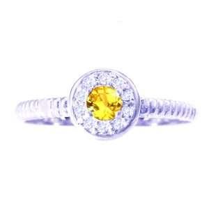14K White Gold Small Round Gemstone and Diamond Disc Ring