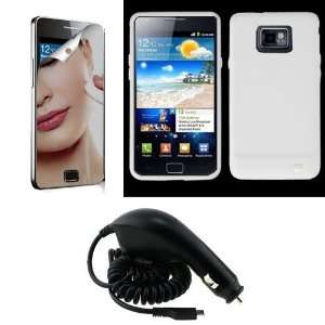 SAMSUNG GALAXY S 2 II I9100 CLEAR WHITE SILICONE CASE, OEM CAR CHARGER