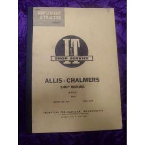 Chalmers Model D14 Intertec OEM Service Manual Allis Chalmers Books