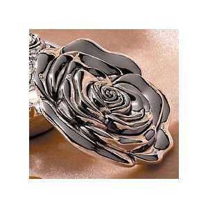 GLOSSY SILVER PLATED ROSE PURSE MIRROR