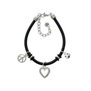 Enamel Soccerball Black Peace Love Charm Bracelet [Jewelry] Jewelry