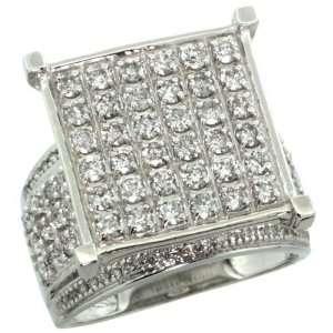 14k White Gold Large Square Diamond Ring w/ 2.00 Carats Brilliant Cut