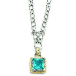 Sterling Silver & Gold Plated Fancy Square Blue Cz Necklace Jewelry