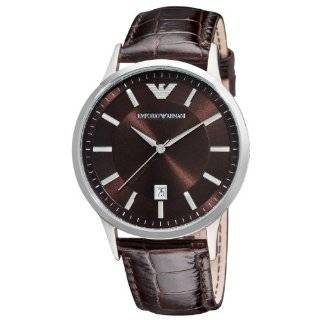 Stainless Steel and Brown Leather Watch Emporio Armani Watches