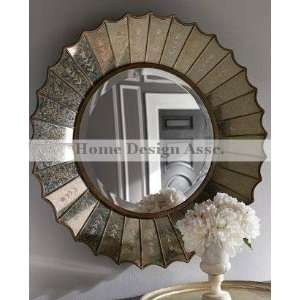 Etched Venetian Sunburst / Starburst Wall Mirror Extra Large Gold