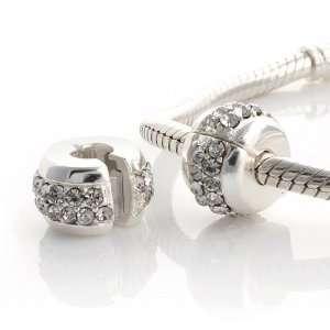 925 Sterling Silver White Cz Stopper Charm for Pandora