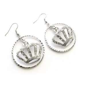 Juicy Crystal Crown Charm Hoop Earrings