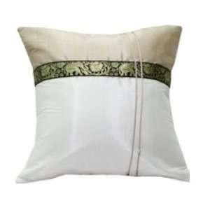 White Thai Elephant Band 12x12 Decorative Silk Throw Pillow Cover