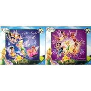 Set of 2 Disney Fairies TinkerBell 100pc Puzzle   LIGHT