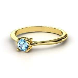 Simply Round Solitaire, Round Blue Topaz 14K Yellow Gold Ring Jewelry
