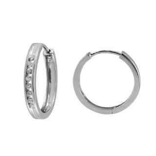 10k White Gold Channel Set Diamond Hoop Earrings (1/3 cttw, H I Color