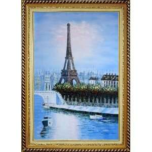 Eiffel Tower Oil Painting, with Linen Liner Gold Wood Frame 42.5 x 30