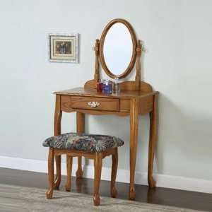 Powell Nostalgic Oak Vanity Mirror and Bench Set: Home & Kitchen