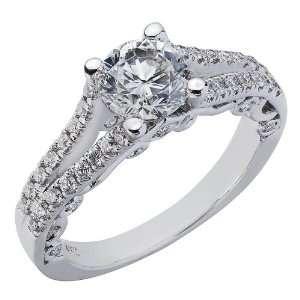 14K White Gold Round Brilliant Cut Diamond Engagement Ring Split Shank