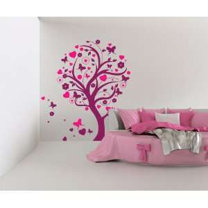 Vinyl Wall Decal Sticker Tree w/ Hearts and Butterflies size 60inX53in