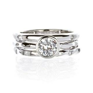 Round Bezel Set Solitaire CZ 14k Solid White Gold Ring Jewelry