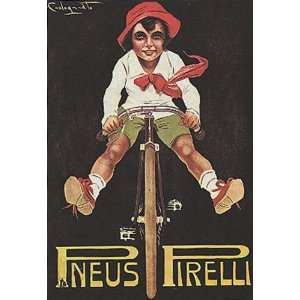 BOY RIDING A BICYCLE BIKE CYCLES PNEUS TIRES 14 X 18 VINTAGE POSTER