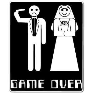 Game Over Baby Just Married Funny Sign Gun Car Bumper Sticker Decal 4