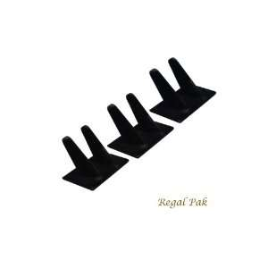 Regal Pak Three Piece Black Velvet 2 Finger Ring Stand 4X 2 1/4X 2 3
