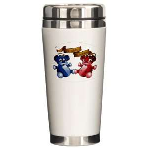 Travel Drink Mug Double Trouble Bears Angel and Devil Everything Else